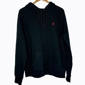 POLO Ralph Lauren Black Hoodie Pullover Red Horse